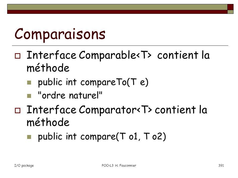 Comparaisons Interface Comparable<T> contient la méthode