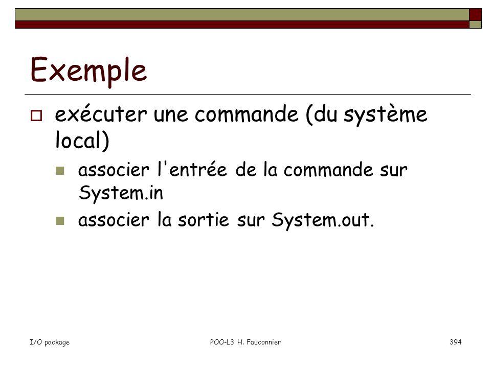 Exemple exécuter une commande (du système local)