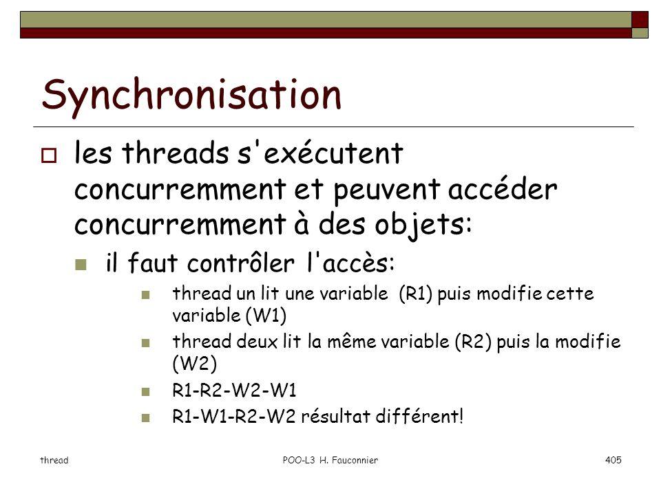 Synchronisation les threads s exécutent concurremment et peuvent accéder concurremment à des objets: