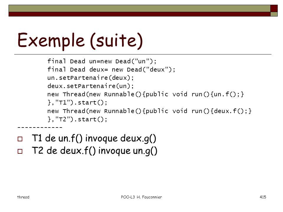 Exemple (suite) T1 de un.f() invoque deux.g()