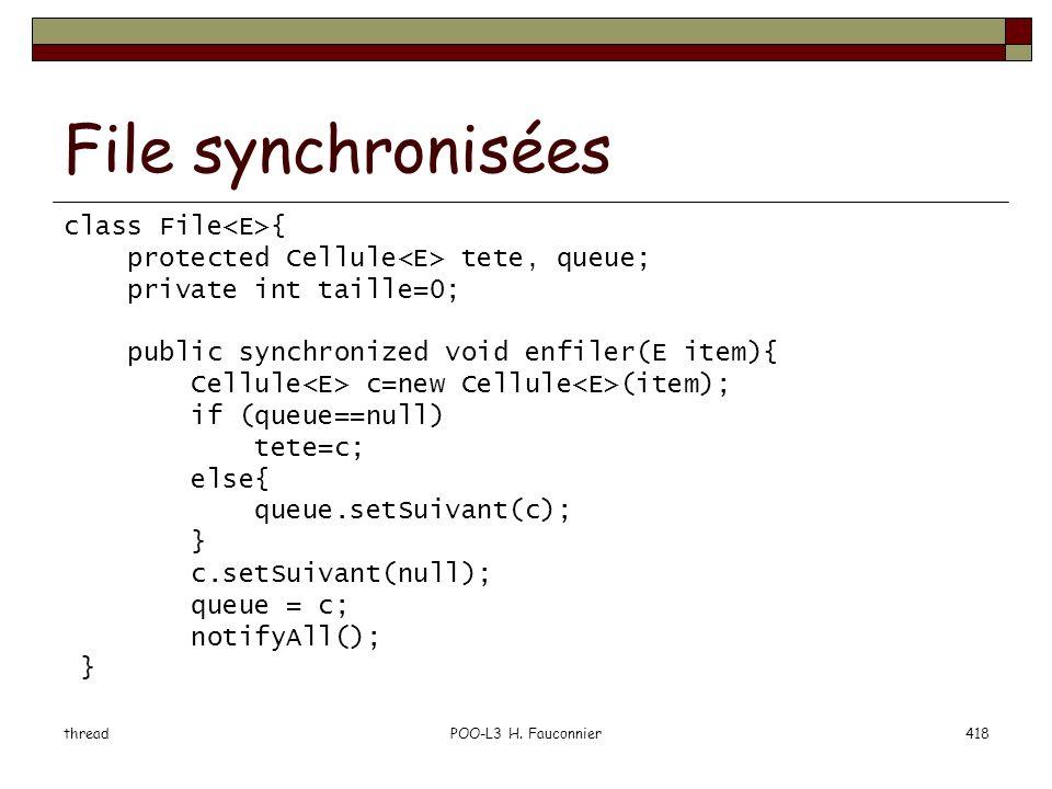 File synchronisées class File<E>{