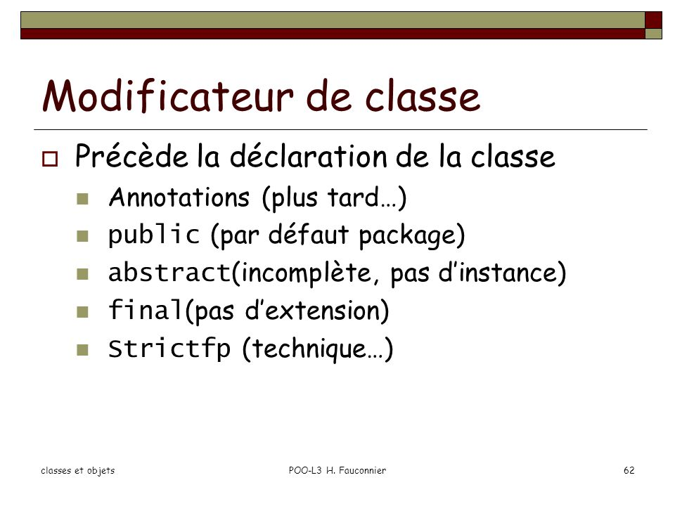 Modificateur de classe