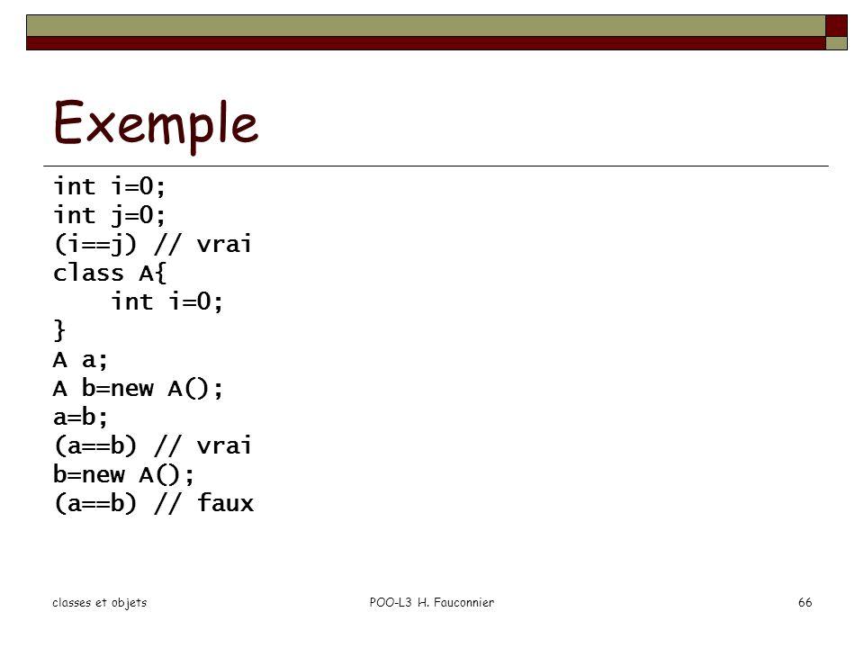 Exemple int i=0; int j=0; (i==j) // vrai class A{ } A a; A b=new A();