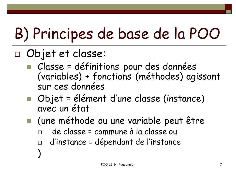 B) Principes de base de la POO
