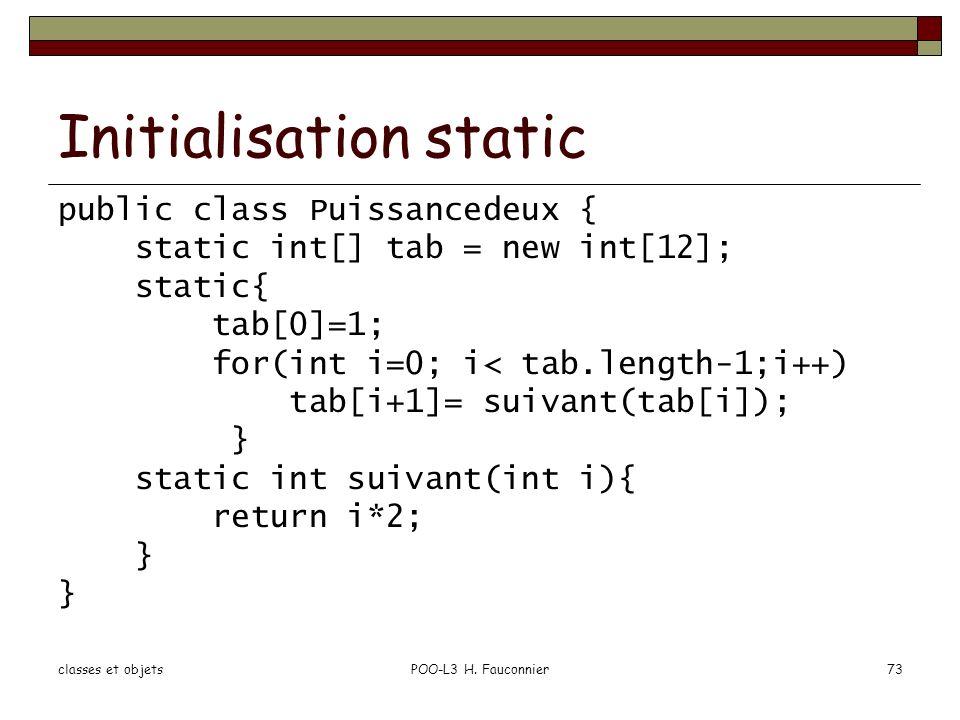 Initialisation static