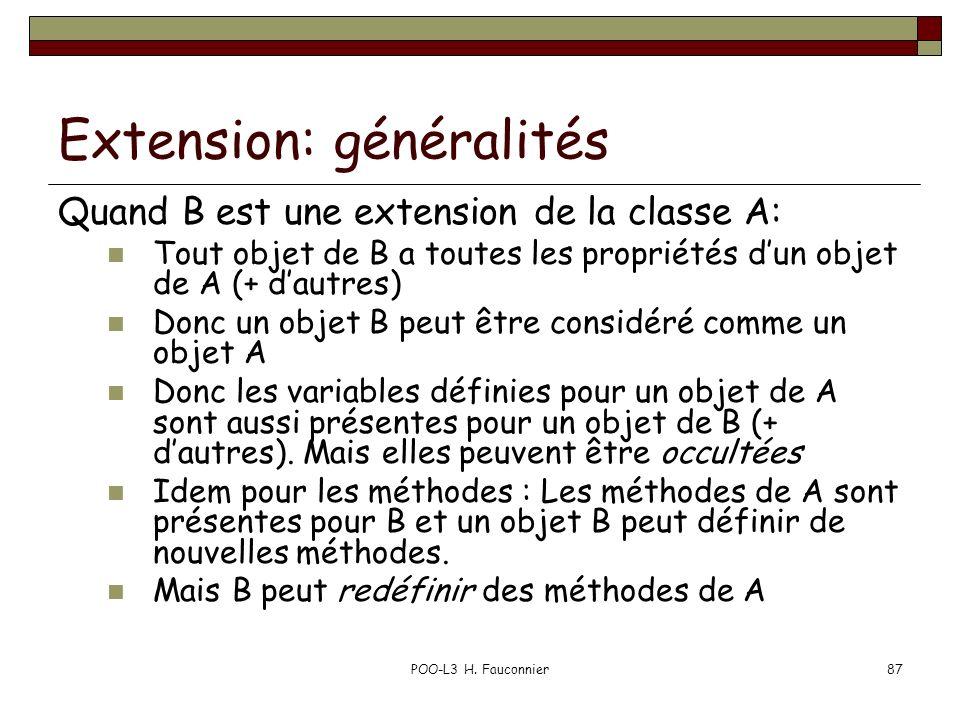 Extension: généralités