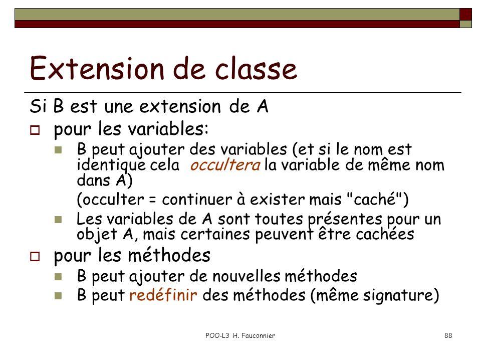 Extension de classe Si B est une extension de A pour les variables: