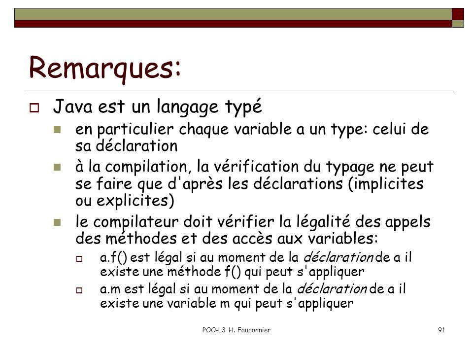 Remarques: Java est un langage typé