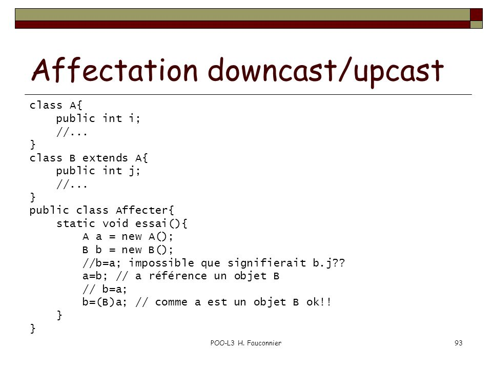 Affectation downcast/upcast