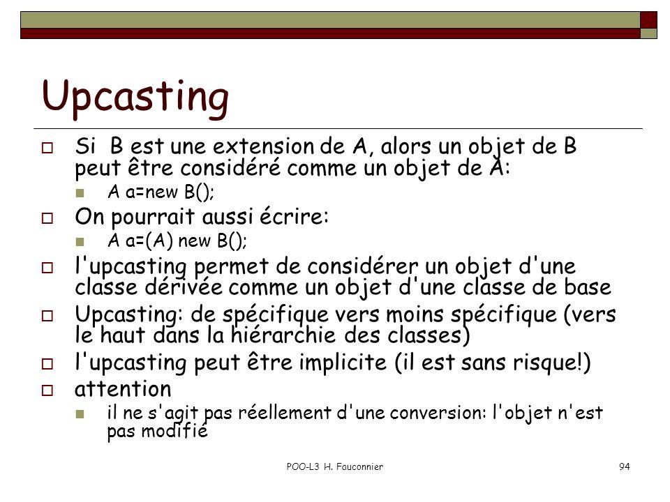 Upcasting Si B est une extension de A, alors un objet de B peut être considéré comme un objet de A: