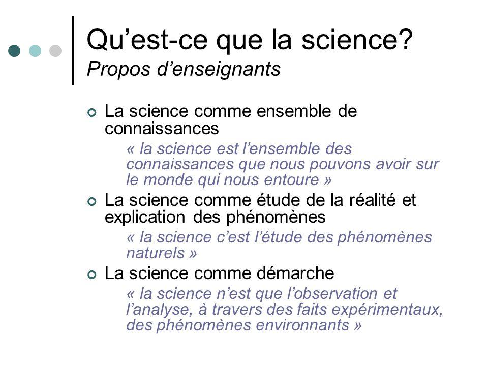 Qu'est-ce que la science Propos d'enseignants