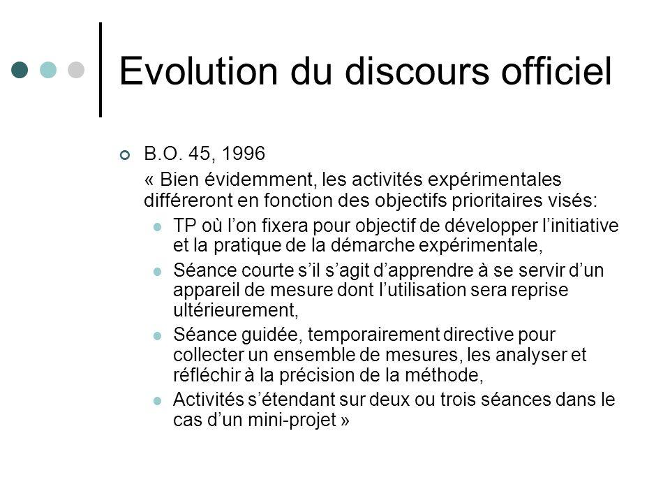 Evolution du discours officiel
