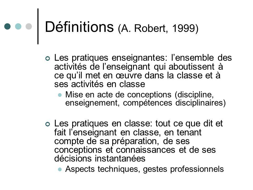 Définitions (A. Robert, 1999)