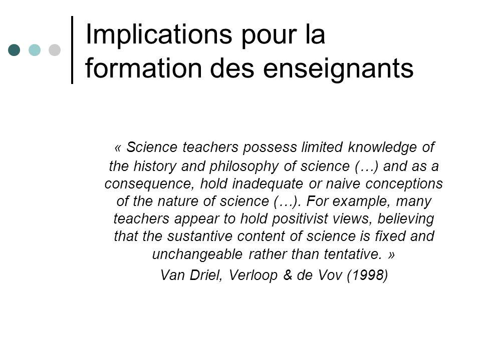 Implications pour la formation des enseignants