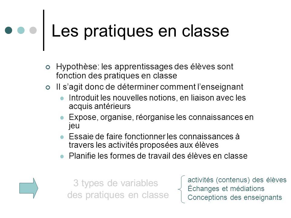 Les pratiques en classe