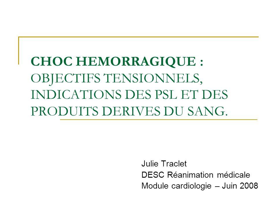 Julie Traclet DESC Réanimation médicale Module cardiologie – Juin 2008