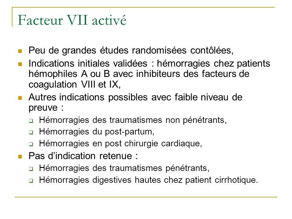 Facteur VII activé Peu de grandes études randomisées contôlées,