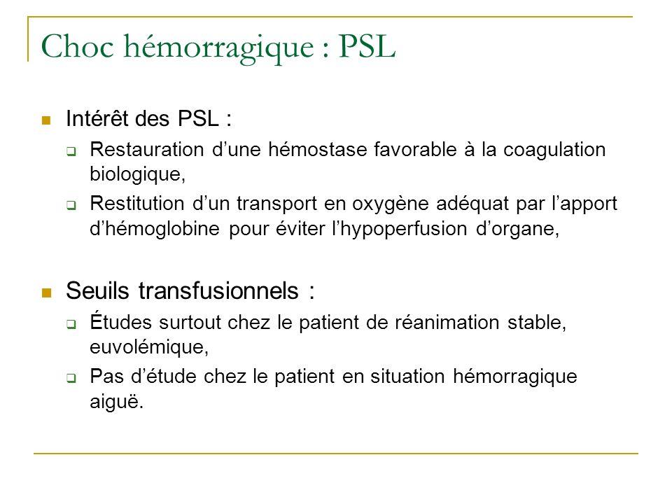 Choc hémorragique : PSL