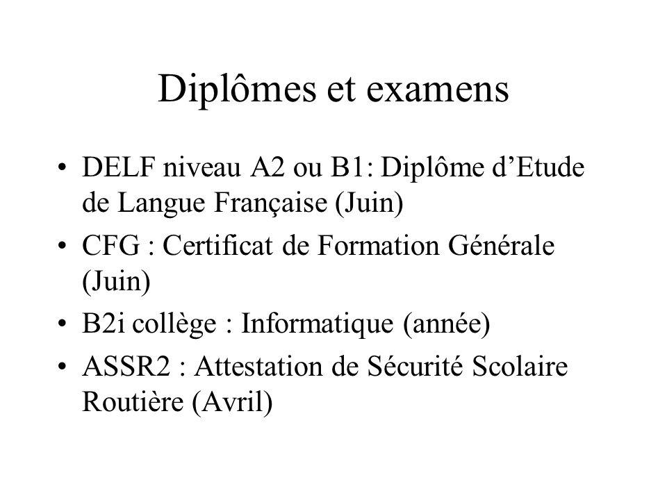 Diplômes et examens DELF niveau A2 ou B1: Diplôme d'Etude de Langue Française (Juin) CFG : Certificat de Formation Générale (Juin)