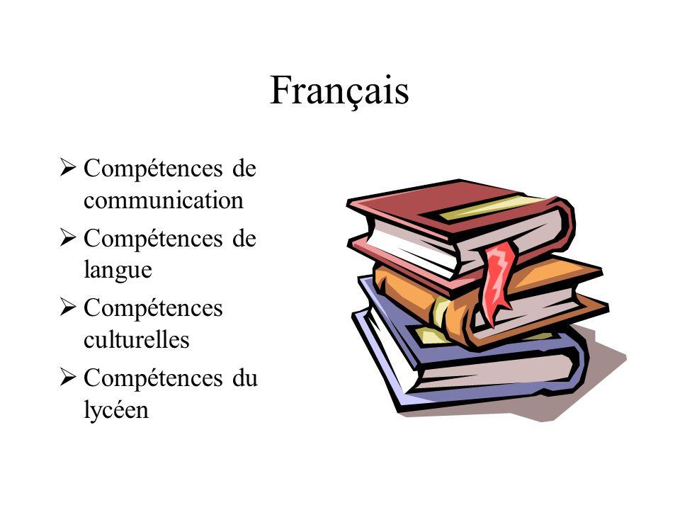 Français Compétences de communication Compétences de langue
