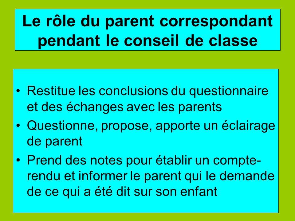 Le rôle du parent correspondant pendant le conseil de classe