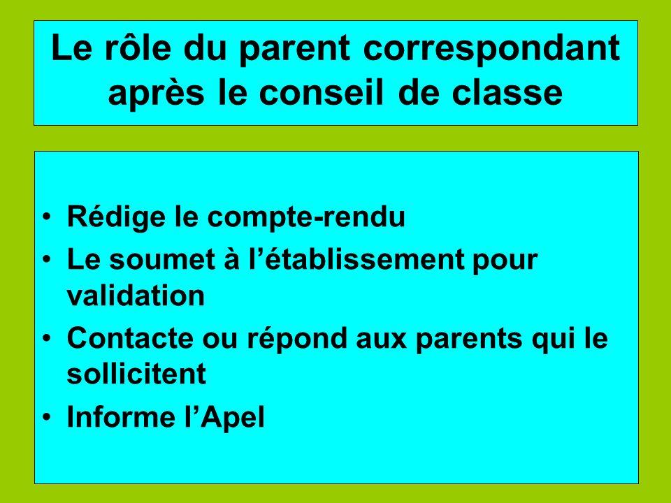 Le rôle du parent correspondant après le conseil de classe