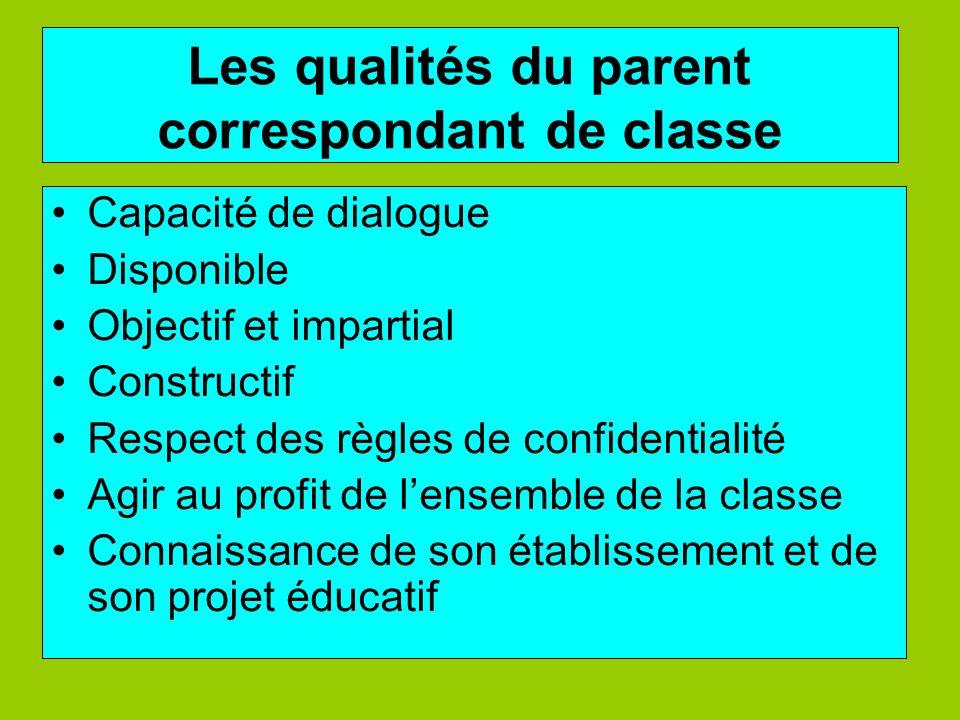 Les qualités du parent correspondant de classe