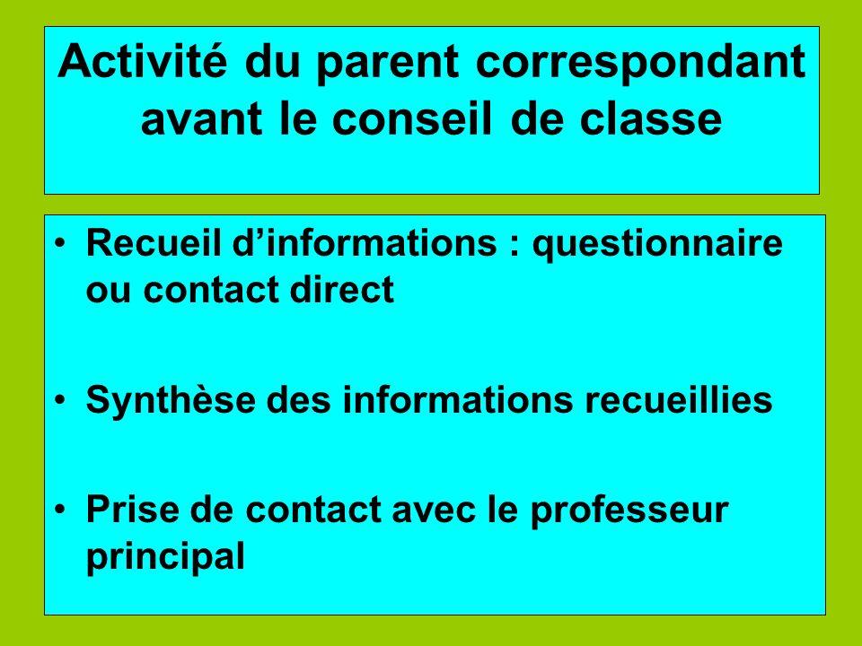 Activité du parent correspondant avant le conseil de classe