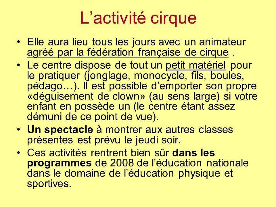 L'activité cirque Elle aura lieu tous les jours avec un animateur agréé par la fédération française de cirque .
