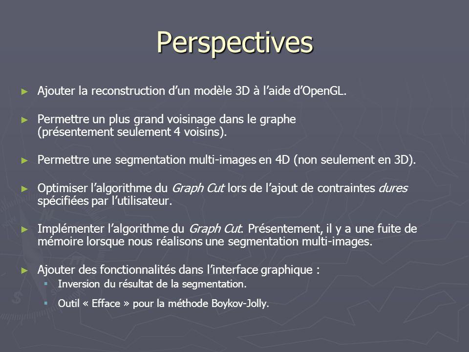 Perspectives Ajouter la reconstruction d'un modèle 3D à l'aide d'OpenGL.