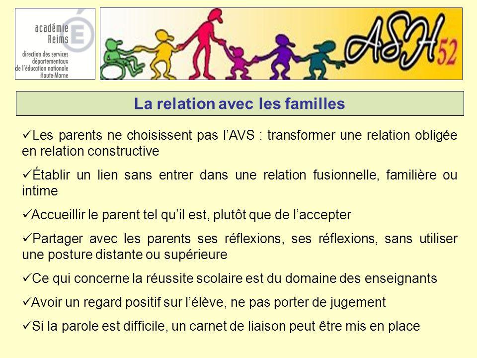 La relation avec les familles