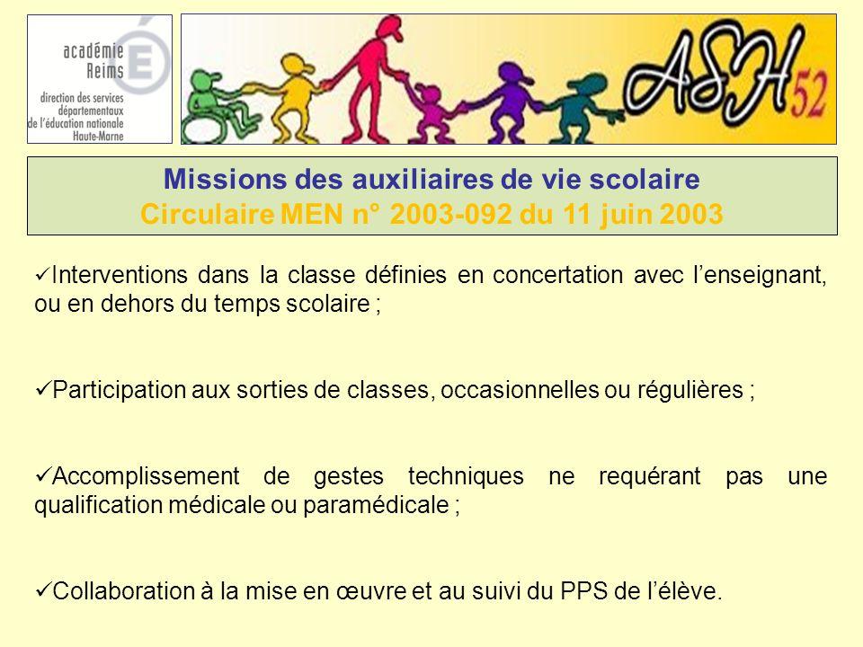 Missions des auxiliaires de vie scolaire Circulaire MEN n° 2003-092 du 11 juin 2003