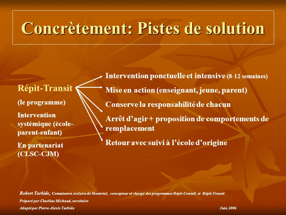 Concrètement: Pistes de solution