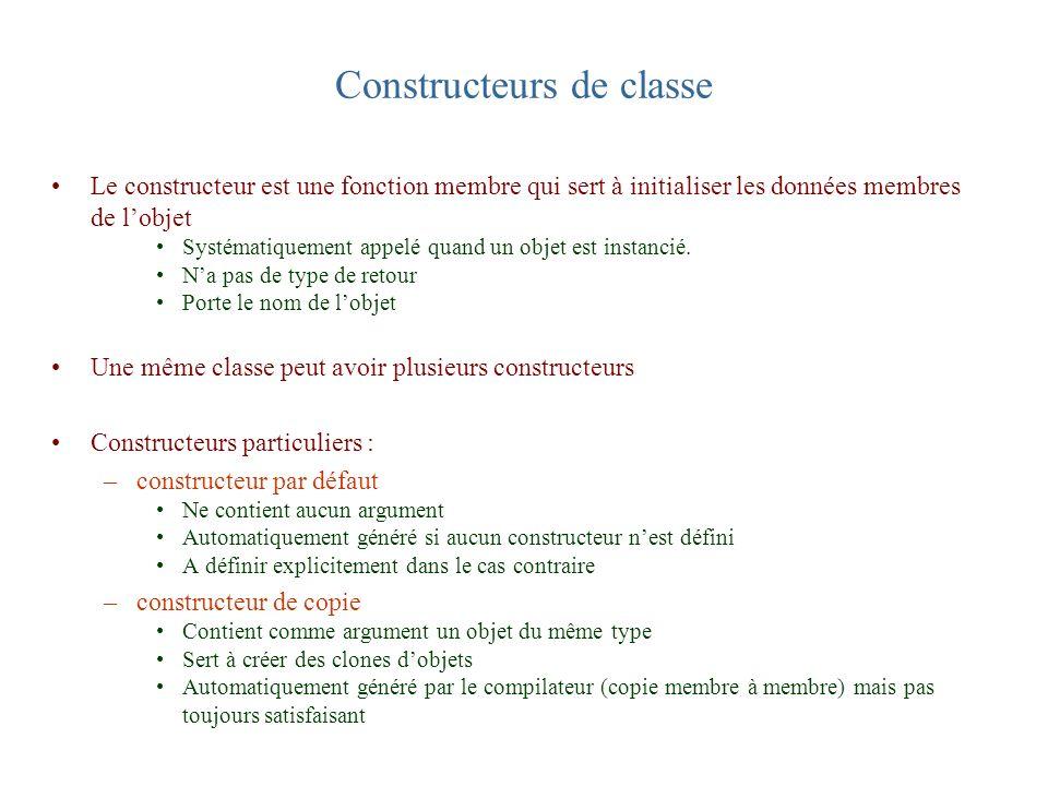Constructeurs de classe