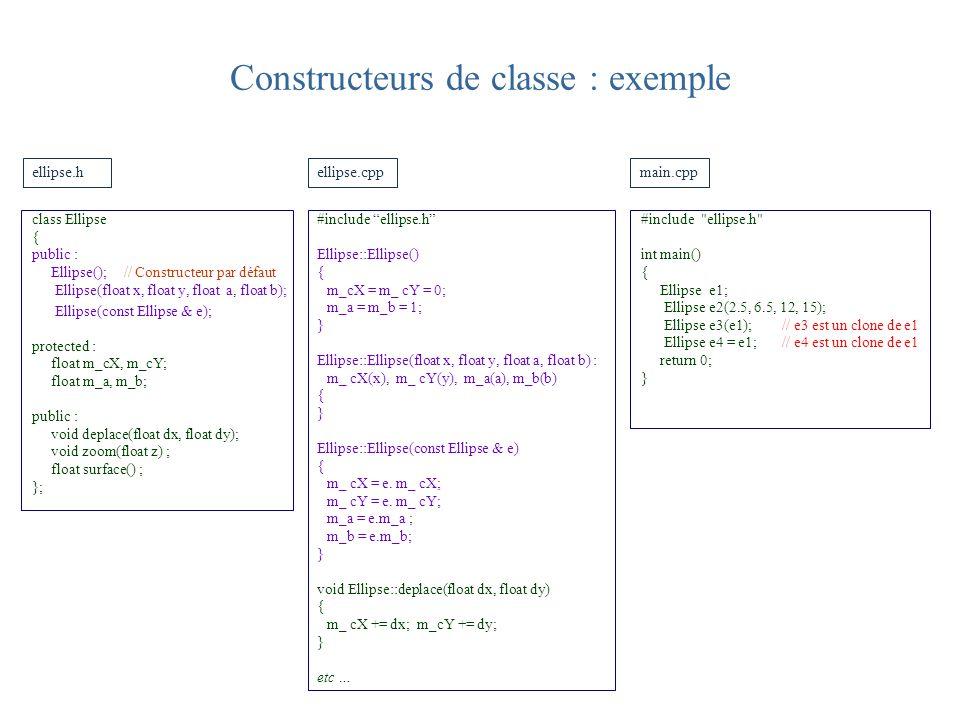 Constructeurs de classe : exemple