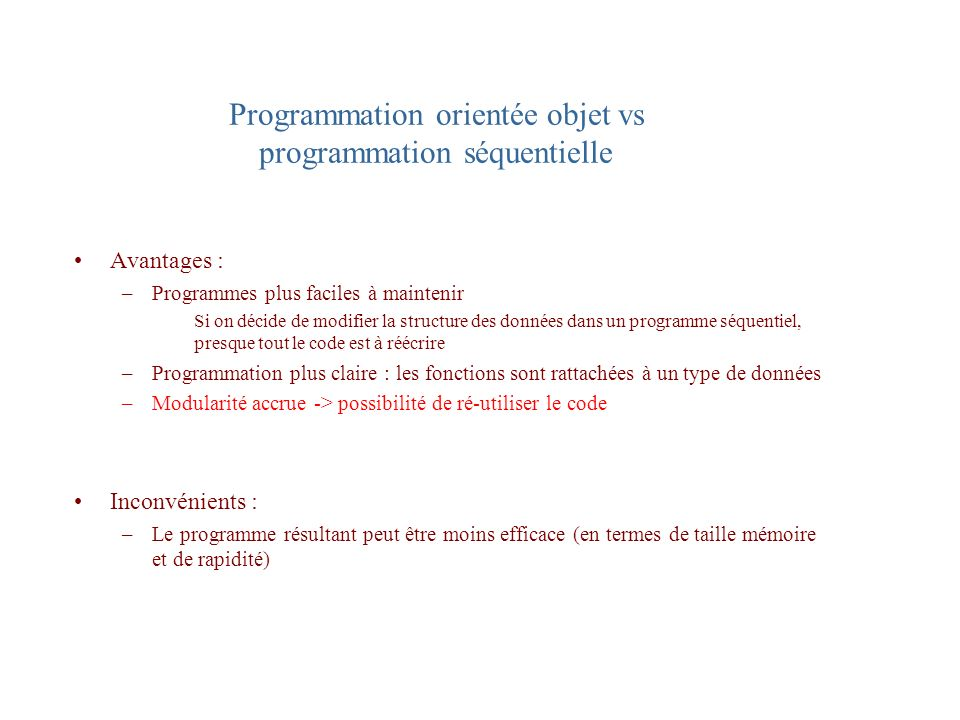 Programmation orientée objet vs programmation séquentielle