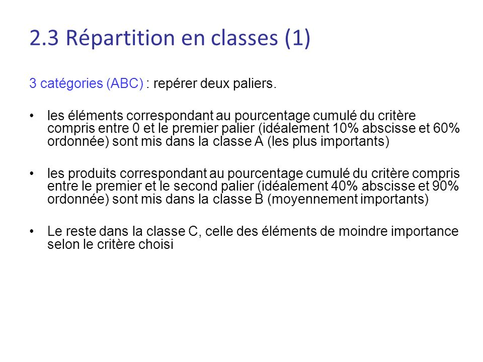 2.3 Répartition en classes (1)