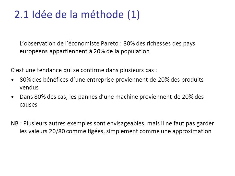 2.1 Idée de la méthode (1) L'observation de l'économiste Pareto : 80% des richesses des pays européens appartiennent à 20% de la population.