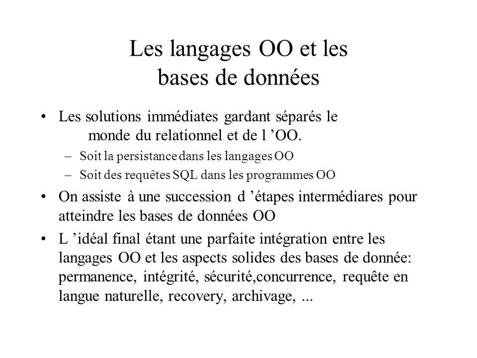 Les langages OO et les bases de données