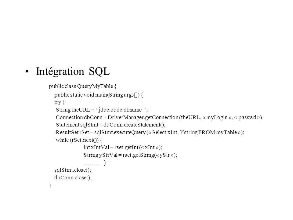 Intégration SQL public class QueryMyTable {