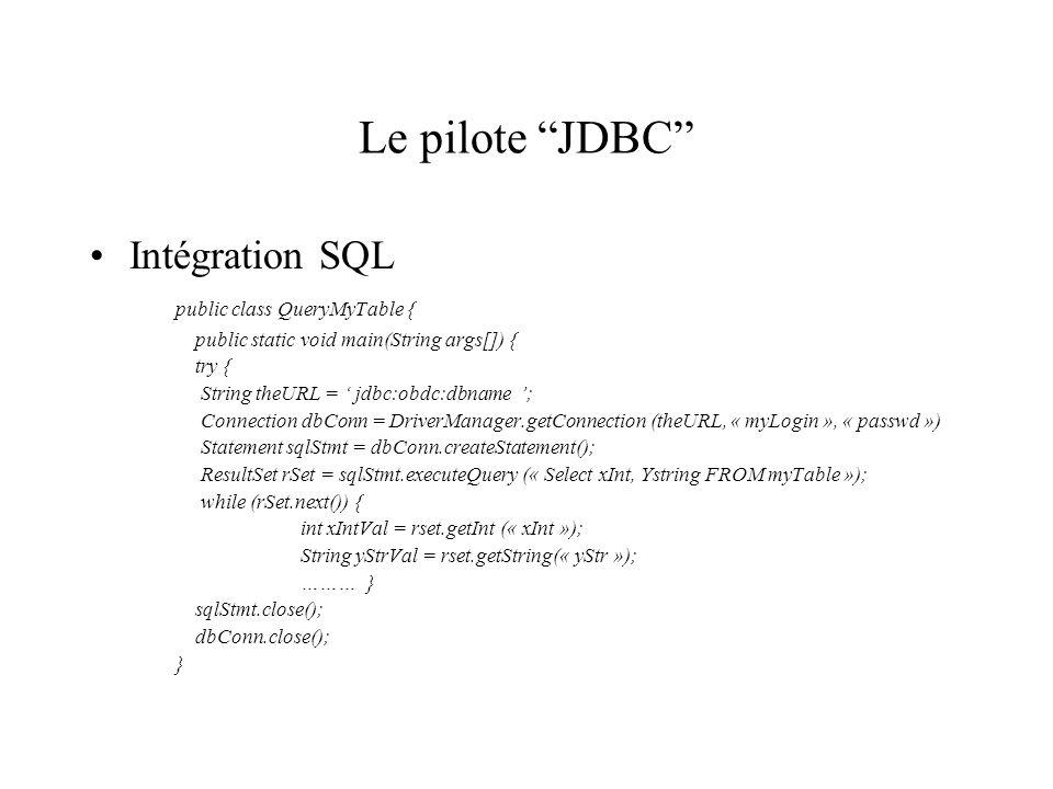 Le pilote JDBC Intégration SQL public class QueryMyTable {