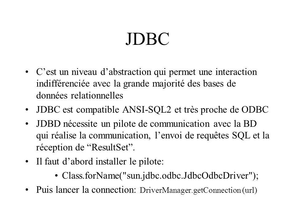 JDBC C'est un niveau d'abstraction qui permet une interaction indifférenciée avec la grande majorité des bases de données relationnelles.