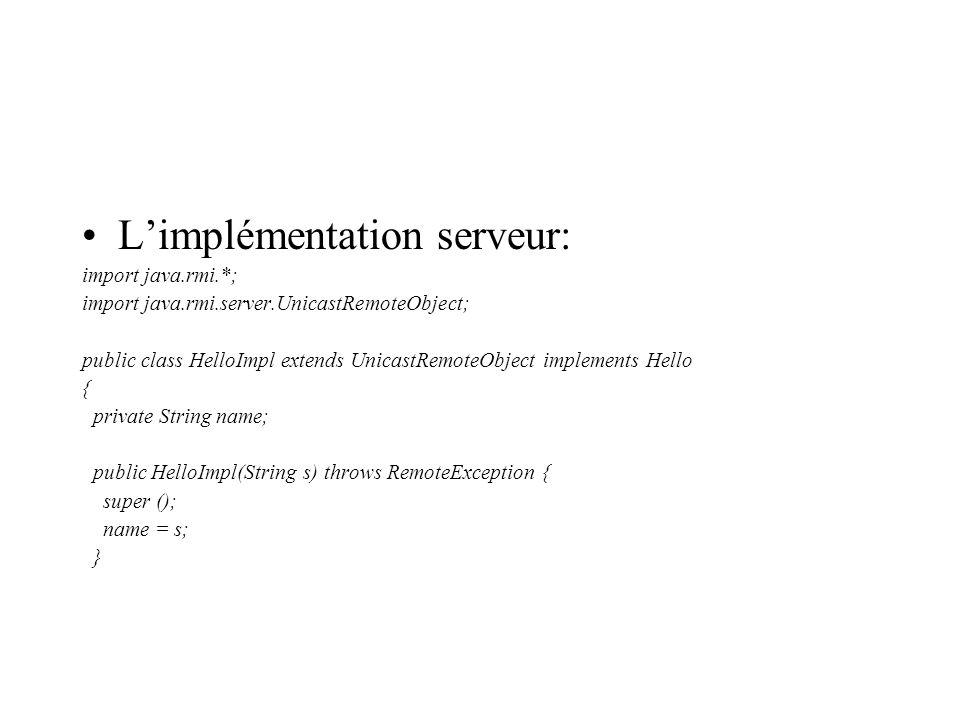 L'implémentation serveur: