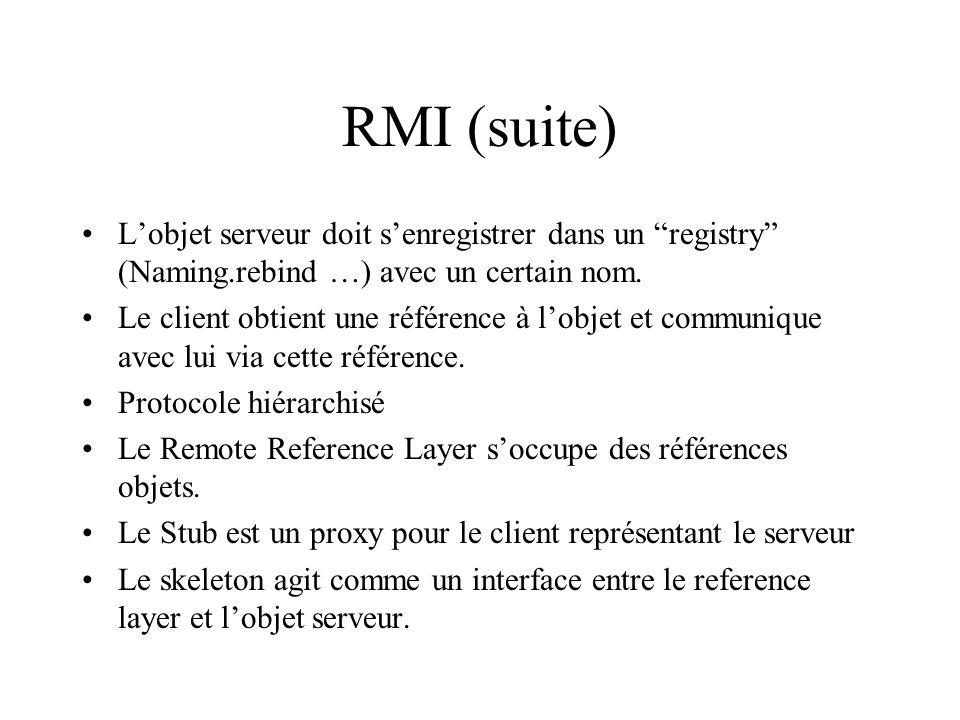 RMI (suite) L'objet serveur doit s'enregistrer dans un registry (Naming.rebind …) avec un certain nom.