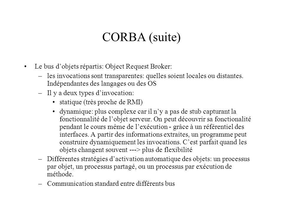 CORBA (suite) Le bus d'objets répartis: Object Request Broker: