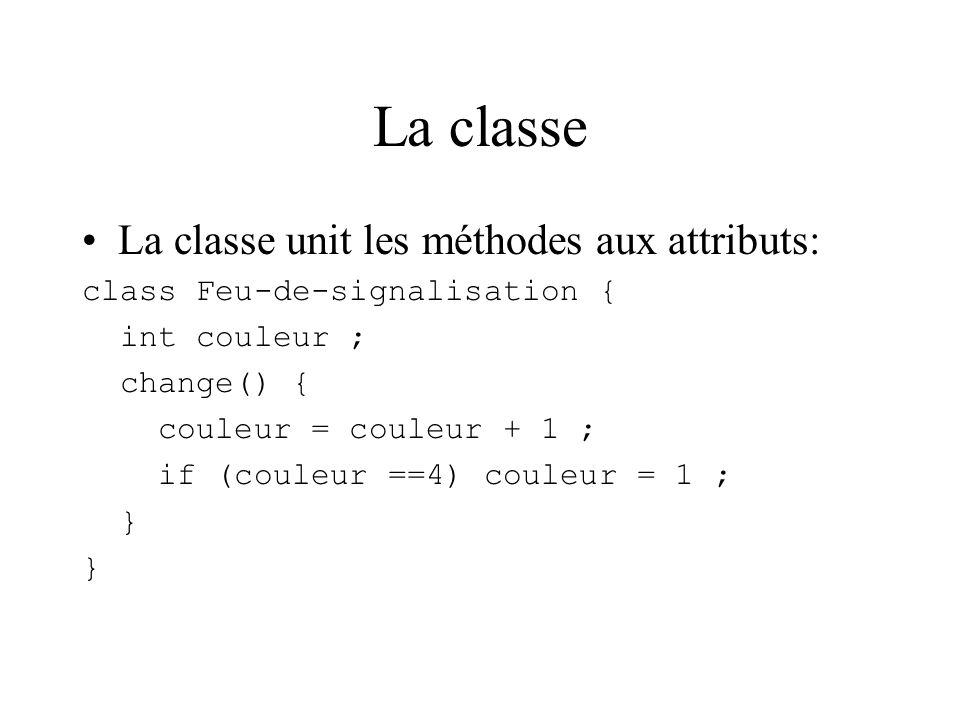 La classe La classe unit les méthodes aux attributs: