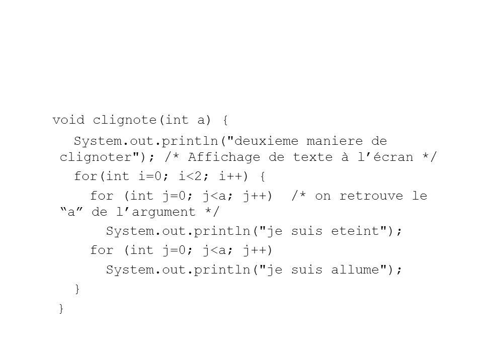 void clignote(int a) { System.out.println( deuxieme maniere de clignoter ); /* Affichage de texte à l'écran */