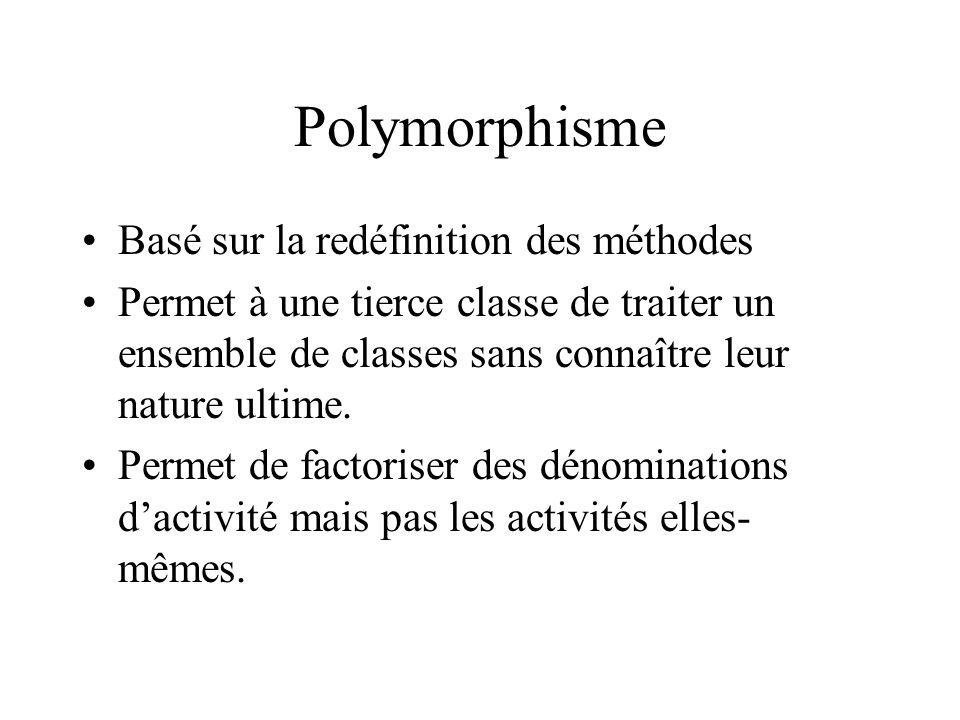 Polymorphisme Basé sur la redéfinition des méthodes
