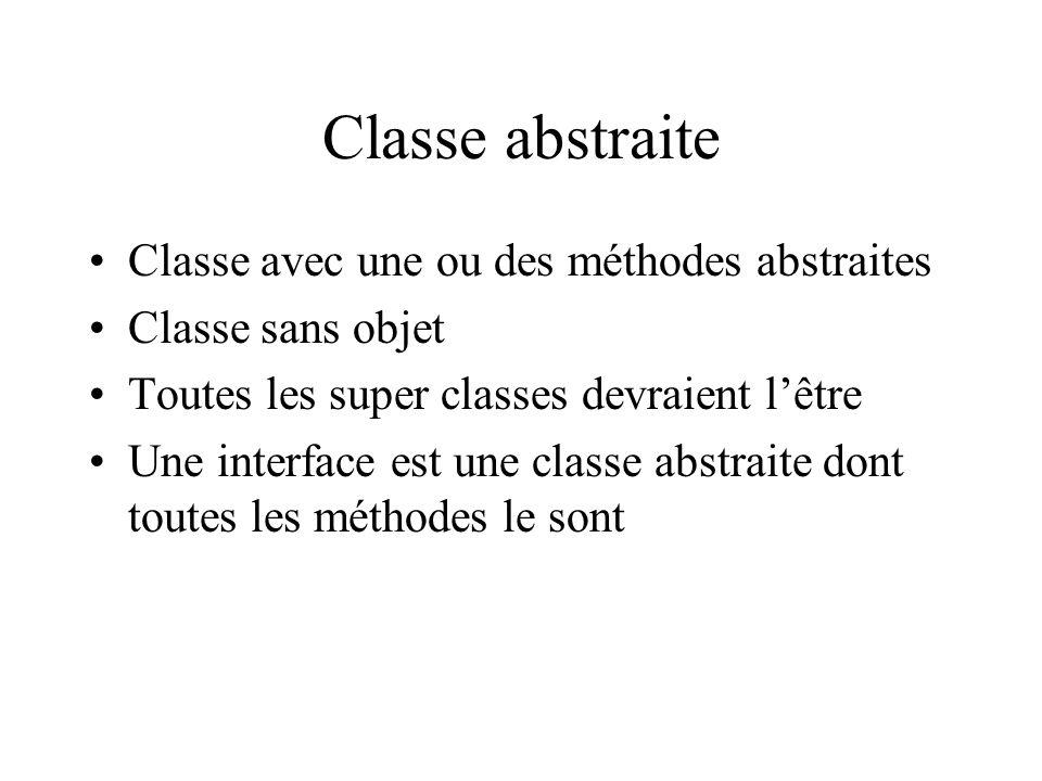 Classe abstraite Classe avec une ou des méthodes abstraites