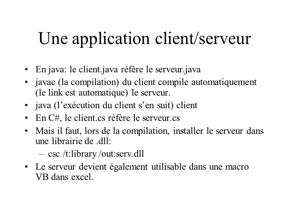 Une application client/serveur
